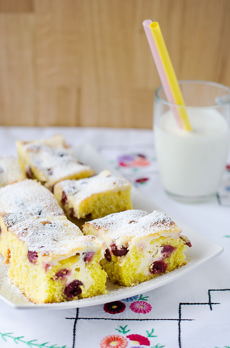 Cherry and Sour Cream Coffee Cake