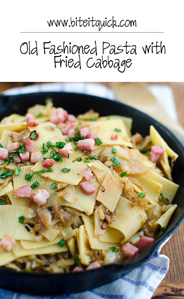 Old Fashioned Pasta with Fried Cabbage